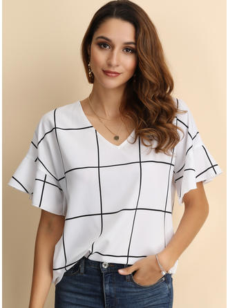 Print V-Neck Flare Sleeve Short Sleeves Casual T-shirts
