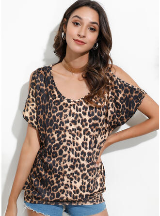 Print Leopard Cold Shoulder 1/2 Sleeves Casual Blouses
