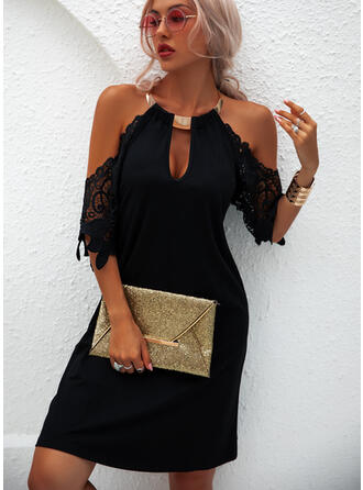 Lace/Solid 1/2 Sleeves/Cold Shoulder Sleeve Shift Above Knee Little Black/Casual/Vacation Tunic Dresses