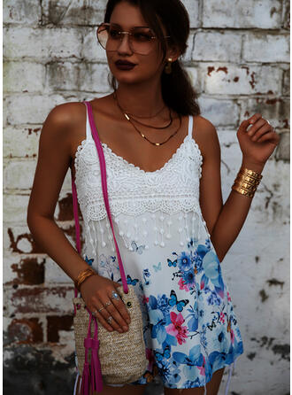 Animal Print Floral Lace Spaghetti Straps Sleeveless Tank Tops