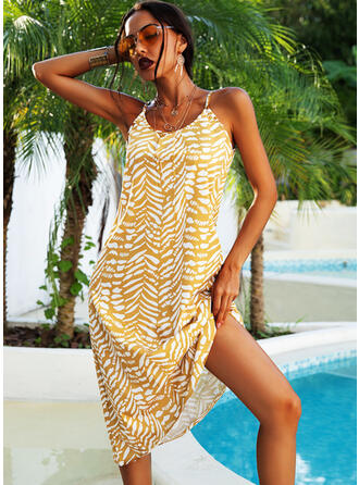 Print Sleeveless Shift Slip Casual/Vacation Maxi Dresses