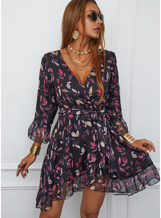 Print 3/4 Sleeves A-line Above Knee Casual Skater Dresses