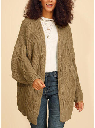 Polyester Manches longues Couleur unie Cardigans