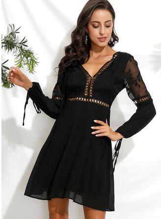 Lace/Solid Long Sleeves/Puff Sleeves A-line Above Knee Little Black/Sexy/Party Dresses