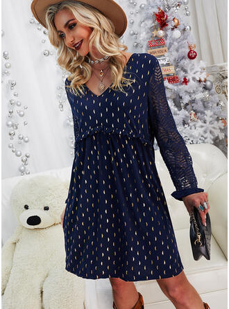 Lace/Print Long Sleeves Shift Knee Length Casual/Elegant Tunic Dresses