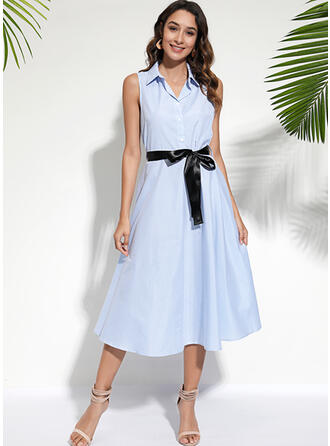 Striped Sleeveless A-line Casual/Elegant Midi Dresses