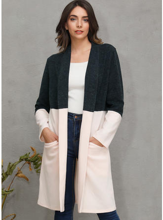 Cotton Blends Long Sleeves Color Block Patchwork Wide-Waisted Coats Cardigans