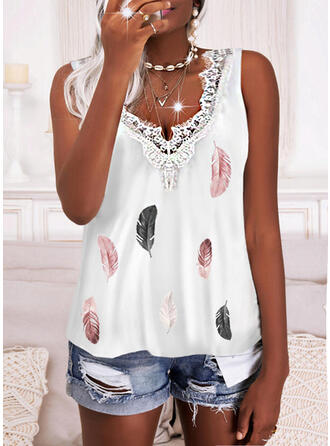 Print Feather Lace V-Neck Sleeveless Tank Tops
