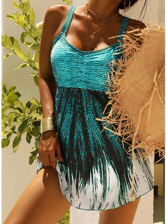 Print Splice color Strap V-Neck Vintage Plus Size Swimdresses Swimsuits