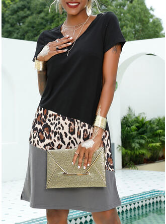 Patchwork/Leopard Short Sleeves Shift Knee Length Casual/Vacation Dresses