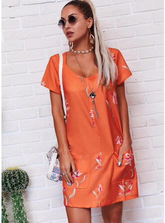 Print/Floral Short Sleeves Shift Above Knee Casual T-shirt Dresses