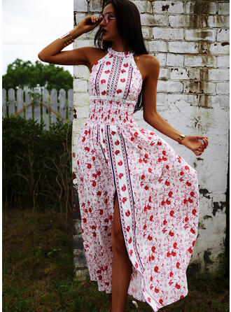 Print/Floral Sleeveless A-line Skater Casual/Boho/Vacation Maxi Dresses