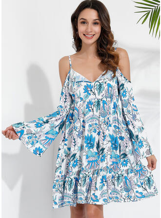 Print/Floral Long Sleeves/Flare Sleeves A-line Knee Length Sexy/Casual/Vacation Skater Dresses