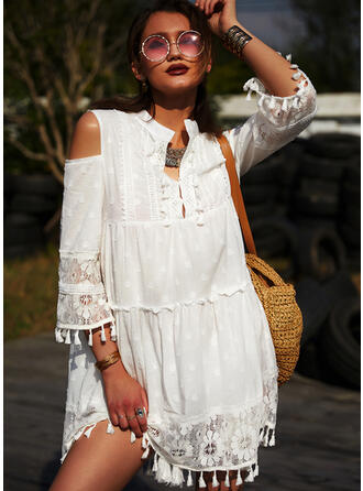 Lace 3/4 Sleeves/Cold Shoulder Sleeve Shift Above Knee Casual/Vacation Dresses