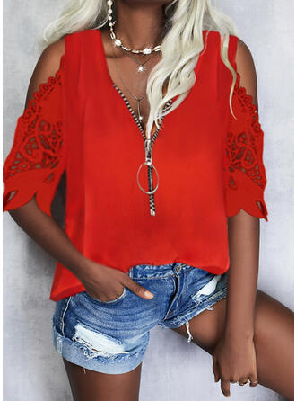 Solid Lace Cold Shoulder 1/2 Sleeves Cold Shoulder Sleeve Casual Blouses