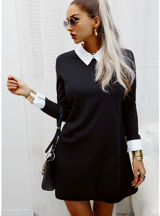 Color Block Long Sleeves Shift Above Knee Elegant Tunic Dresses