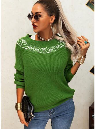 Print Floral Round Neck Casual Sweaters