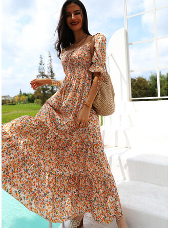 Print/Floral Short Sleeves/Puff Sleeves A-line Skater Casual/Vacation Maxi Dresses