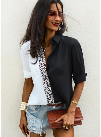 Patchwork Leopard Lapel Long Sleeves Button Up Casual Shirt Blouses
