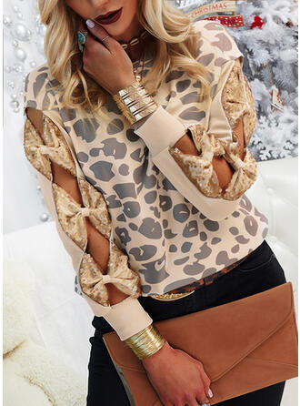 Leopard Sequins Round Neck Casual Sweaters