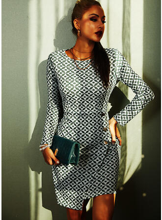 Print Long Sleeves Bodycon Knee Length Casual Pencil Dresses