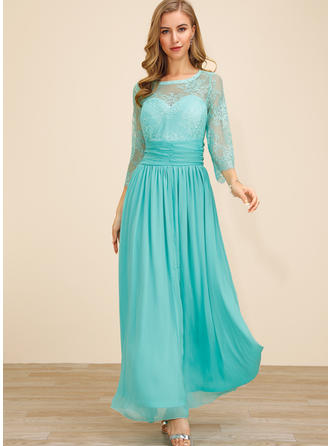 Lace/Solid 3/4 Sleeves A-line Skater Party/Elegant Maxi Dresses