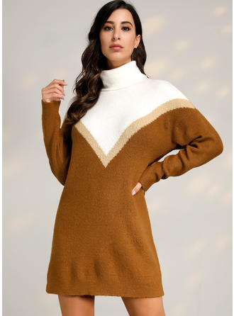 Color Block Turtleneck Casual Sweater Dress