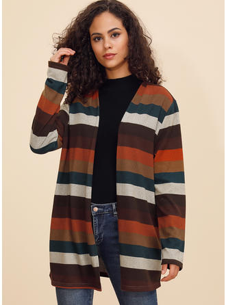 Polyester Manches longues Striped Manteaux oversize Cardigans