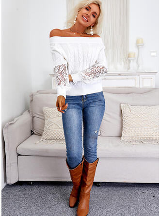 Solid Lace Off the Shoulder Casual Sweaters