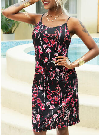 Print/Floral Sleeveless Sheath Above Knee Casual Slip Dresses
