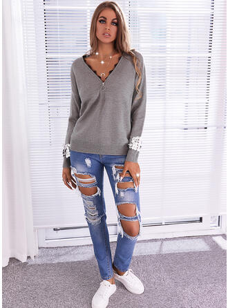 Solid Lace Sequins V-Neck Casual Sweaters