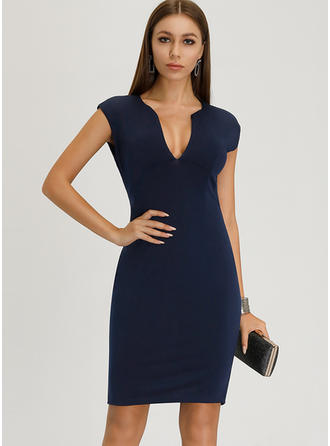 Solid Sleeveless Bodycon Knee Length Sexy/Party/Elegant Dresses