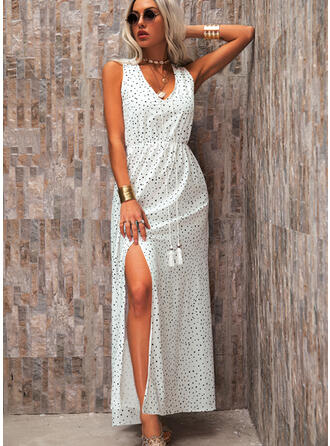 PolkaDot Sleeveless A-line Skater Casual/Vacation Maxi Dresses