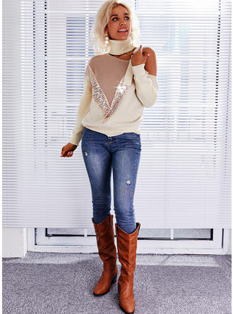 Color Block Sequins High Neck Casual Sweaters