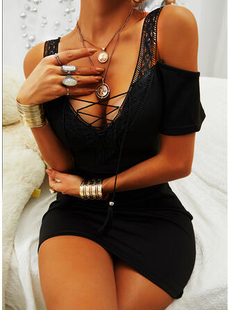 Lace/Solid Short Sleeves Bodycon Above Knee Little Black/Sexy/Casual Dresses