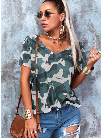 Camouflage Col V Manches Courtes T-shirts