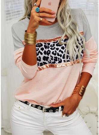 Color Block Leopard Sequins Round Neck Long Sleeves T-shirts