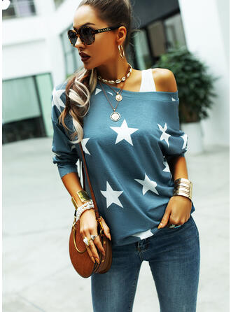 Print One-Shoulder Long Sleeves Casual T-shirts