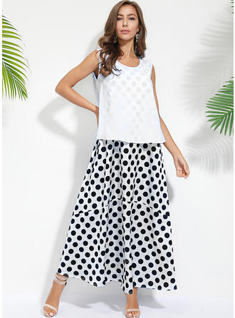 PolkaDot Sleeveless Shift Tank Casual Maxi Dresses