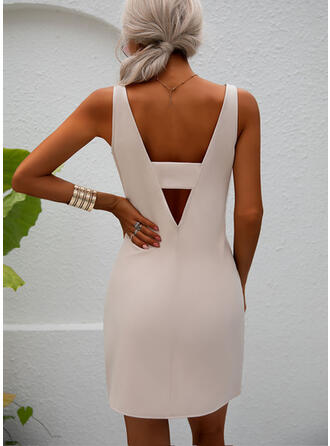 Solid/Backless Sleeveless Sheath Above Knee Sexy/Party Dresses