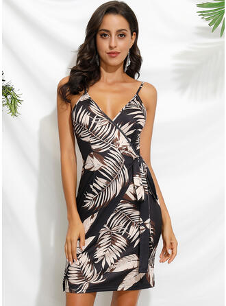 Print/Floral Sleeveless Sheath Above Knee Sexy Wrap/Slip Dresses