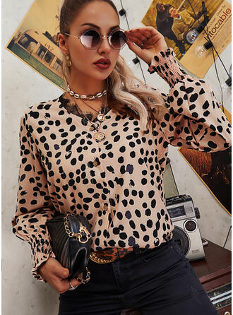 Print Lace V-Neck Long Sleeves Button Up Casual Blouses