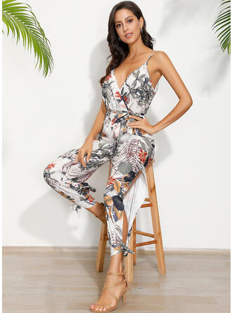 Print Spaghetti Strap Sleeveless Casual Boho Vacation Jumpsuit