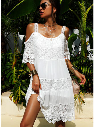 Lace/Solid Short Sleeves/Cold Shoulder Sleeve Shift Above Knee Little Black/Elegant Dresses