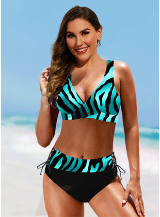 High Waist Print Strap V-Neck Sexy Vintage Plus Size Bikinis Swimsuits