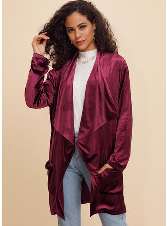 Polyester Manches longues Couleur unie Trenchs Manteaux oversize Cardigans