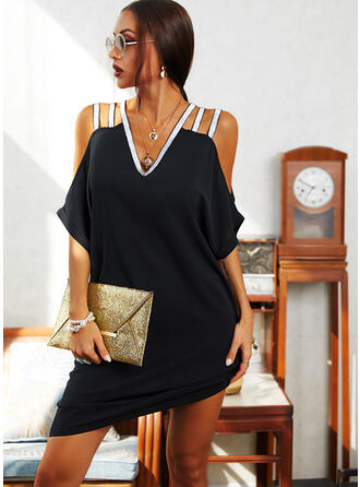 Sequins/Solid Short Sleeves/Cold Shoulder Sleeve Shift Knee Length Little Black/Elegant Dresses