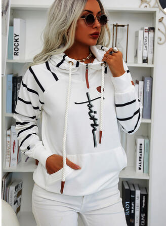 Print Striped Pockets Letter Long Sleeves Hoodie