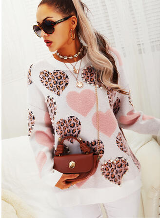 Leopard Beaded Round Neck Casual Sweaters